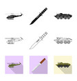 weapon and gun icon set of vector image