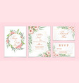wedding invitation set red geranium flowers and vector image
