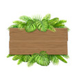 wooden sign with tropical leaves vector image vector image