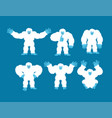 yeti set poses and motion bigfoot happy and yoga vector image vector image