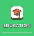 education icon with graduation cap vector image