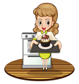 A lady baking a cupcake vector image