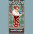 art nouveau winter santa girl new year card vector image vector image
