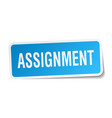 assignment square sticker on white