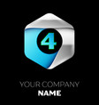 blue number four logo in the silver-blue hexagonal vector image