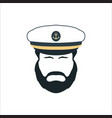captain face silhouetteskipper in a hat emblem vector image