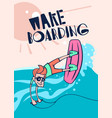 cartoon wake boarding poster vector image vector image