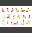children and cats set with kids vector image vector image