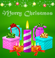Christmas postcard with colorful gift boxes vector image vector image