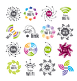 Collection of logos Wifi connection vector image