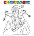 coloring book santa claus topic 3 vector image vector image