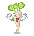crazy fresh organic parsnip vegetable cartoon vector image vector image