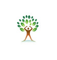 creative hero person gym green tree logo vector image vector image