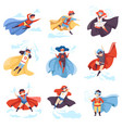 cute kids wearing superhero costumes set super vector image vector image