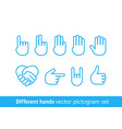 different hands pictograph set lineart vector image