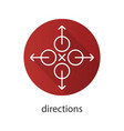 directions flat linear long shadow icon vector image vector image