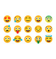 emoji set cute funny emotional icons vector image vector image