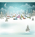 evening winter village vector image vector image