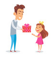 father congratulates daughter with holiday vector image vector image