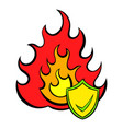 fire and shield with tick icon cartoon vector image vector image