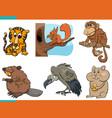 funny animals cartoon characters set vector image vector image