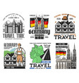 german architecture travel landmark icons vector image