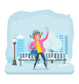 girl in winter clothes with a phone in his hand vector image vector image