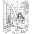girl near window vector image vector image