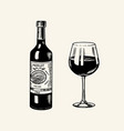 glass red wine and glass bottle still life vector image vector image