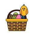 happy easter chick eggs vector image vector image