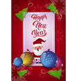 happy new year card decorated with christmas tree vector image
