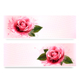 Holiday banners with pink beautiful roses