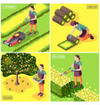 landscaping isometric design concept vector image vector image