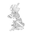 Map of united kingdom from polygonal black lines