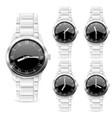 men wrist watch with metal bracelet black vector image