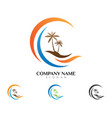 palm tree summer logo vector image vector image