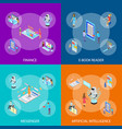 people and app interfaces concept banner set 3d vector image vector image