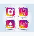 photo camera icon flash light and selfie frame vector image