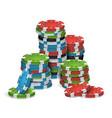 poker chips stacks plastic white red vector image vector image