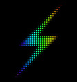 rainbow colored pixel lightning icon vector image vector image