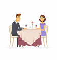 romantic dinner - cartoon people character vector image