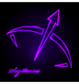 Sagittarius glowing sign vector image vector image