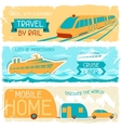 set horizontal travel banners in retro style vector image vector image