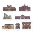 set isolated museums europe in color vector image vector image