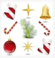 Set of Christmas items vector image vector image
