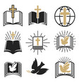 set of religious signs cross with dove holy vector image vector image