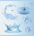 set of water transparency splashes water crown vector image vector image