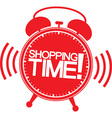 Shopping time alarm clock vector image vector image
