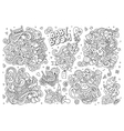 Sketchy hand drawn Doodle cartoon set of vector image vector image