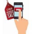 smartphone cyber monday hand buy vector image